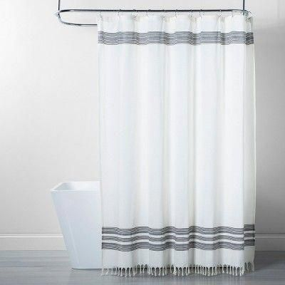 Black Stripe Fringe Shower Curtain White Gray Threshold