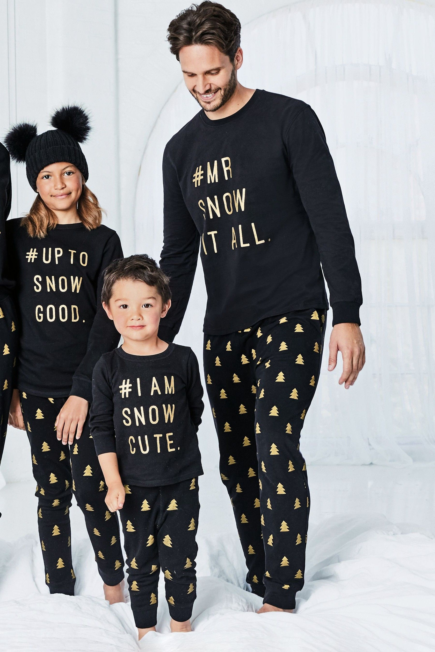 Black/Gold Kids Matching Family Slogan Pyjamas (0mths8yrs