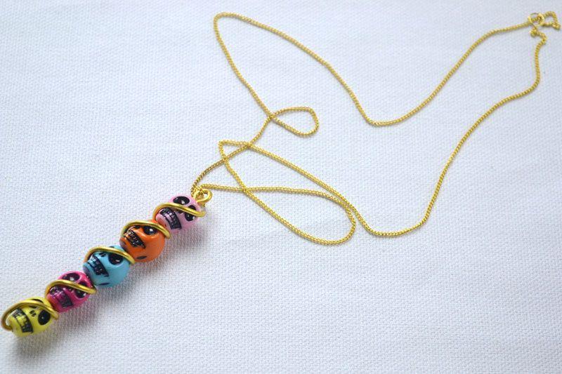 Pendant necklace design idea making necklace with wire and skull pendant necklace design idea making necklace with wire and skull beads from pandahall audiocablefo