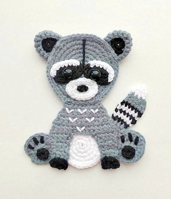raccoon applique crochet pattern #crochetapplicates