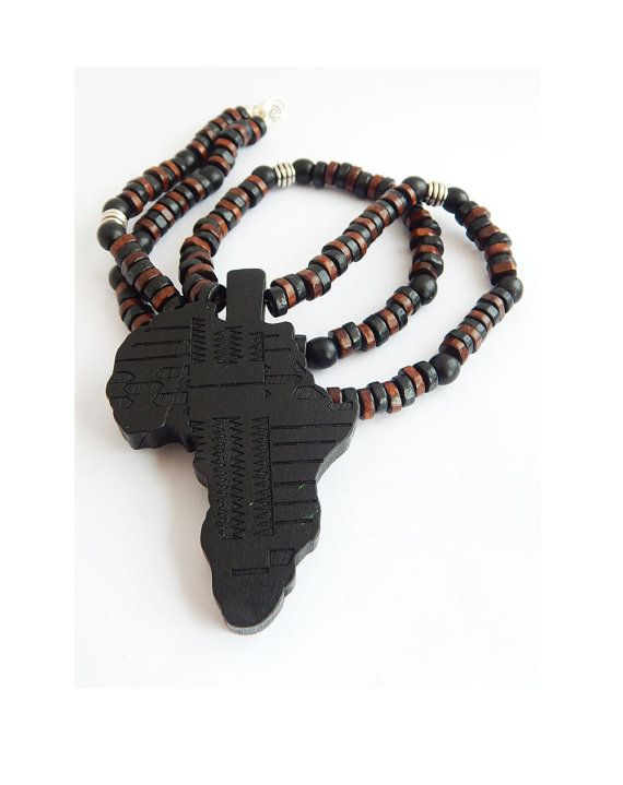 Africa necklace mens african necklace wood beaded necklace black africa necklace mens african necklace wood beaded necklace black brown hip hop afrocentric wooden motherland africa aloadofball Image collections