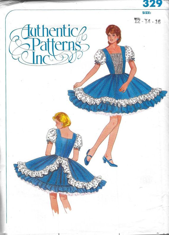 Authentic Patterns 329 Ladies Square Dance Dress Sewing Pattern Bust ...