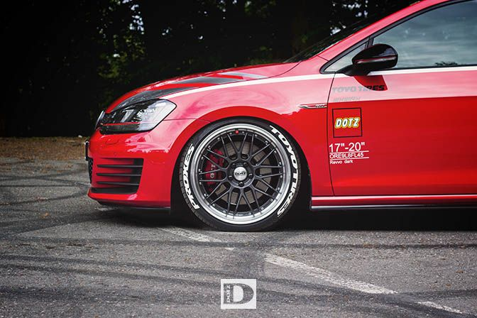 This Is The New Dotz Golf VII GTI Performance Project Named Lowgo. The  Wheels Are The Dotz Revvo Dark With Toyo Proxes Sport.
