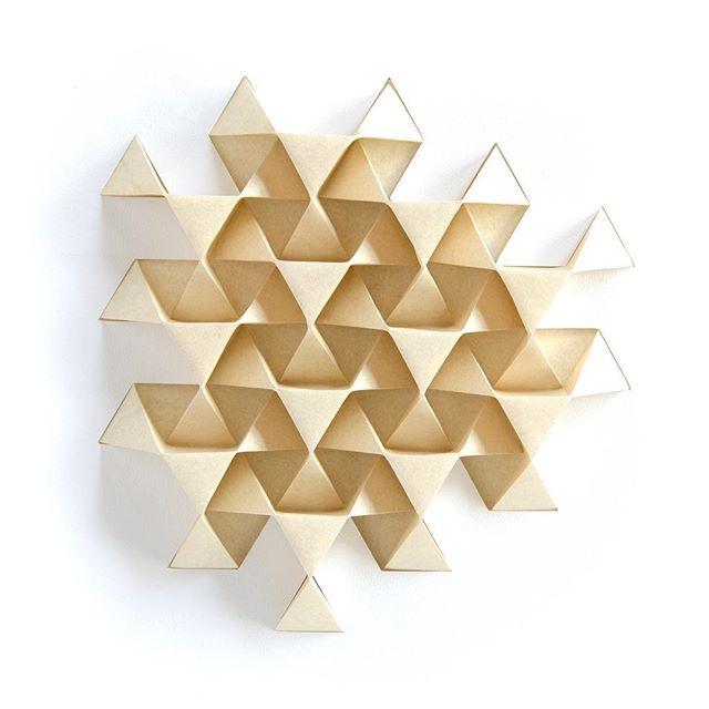 Origami Tessellation Corrugation Triangle Triangles Paper Geometry Symmetry Mathart Mathlove Ekaterinalukasheva Design Art Wallart
