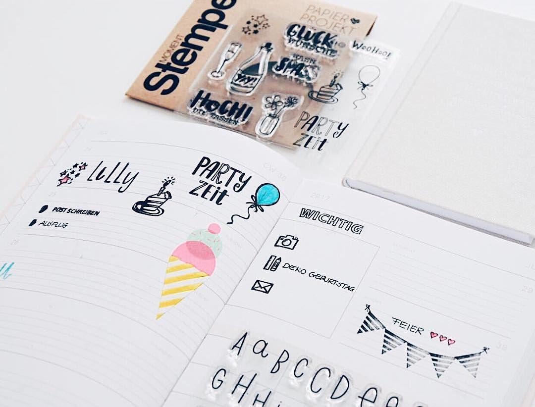 """Unsere Stempelsets """"Partyzeit"""" & die """"Hölderlin"""" Buchstaben passen super zur sommerlichen Planer Deko von @minimemalzwei Danke fürs Teilen mit dem #papierprojekt Hashtag!"""