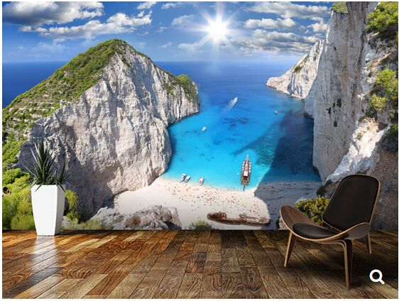 benutzerdefinierte landschaft tapeten navagio strand zakynthos 3d wandbild f r wohnzimmer. Black Bedroom Furniture Sets. Home Design Ideas