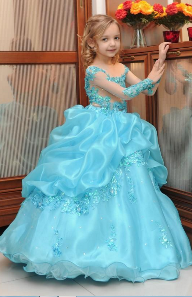 f5e9317cfe97 Girls Pageant Dresses Long Sleeve Sequins Appliques Ball Gown Flower ...