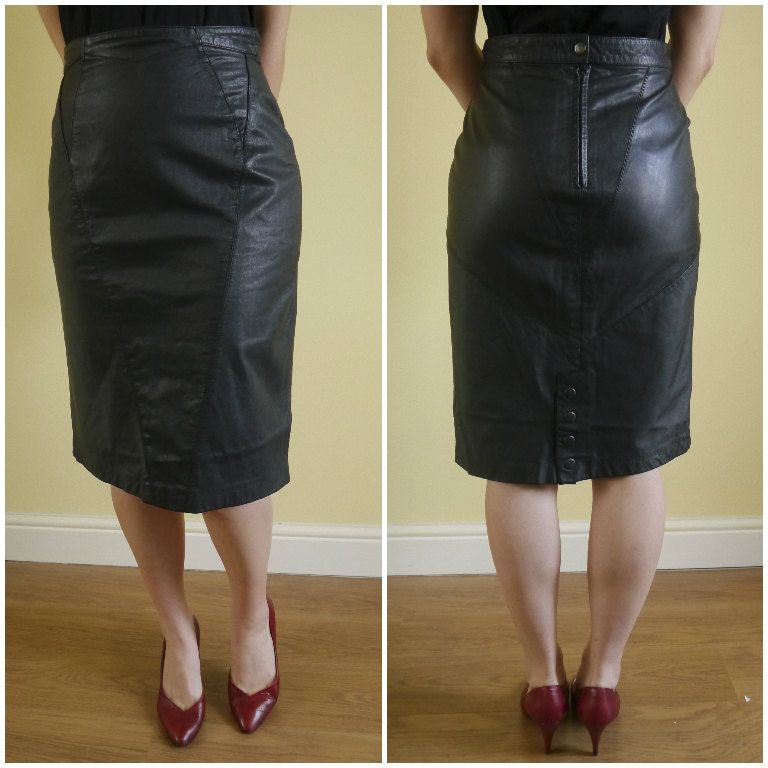 XS UK 6-8 | Vintage 80s Genuine Leather Skirt | High Waisted ...
