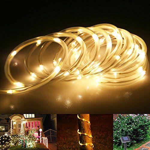 Le 23ft Led Solar Rope Lights Waterproof 50 Leds 1 2 V Warm White Portable With Light Sen Solar Rope Light Solar Garden Fairy Lights Fairy Lights Garden