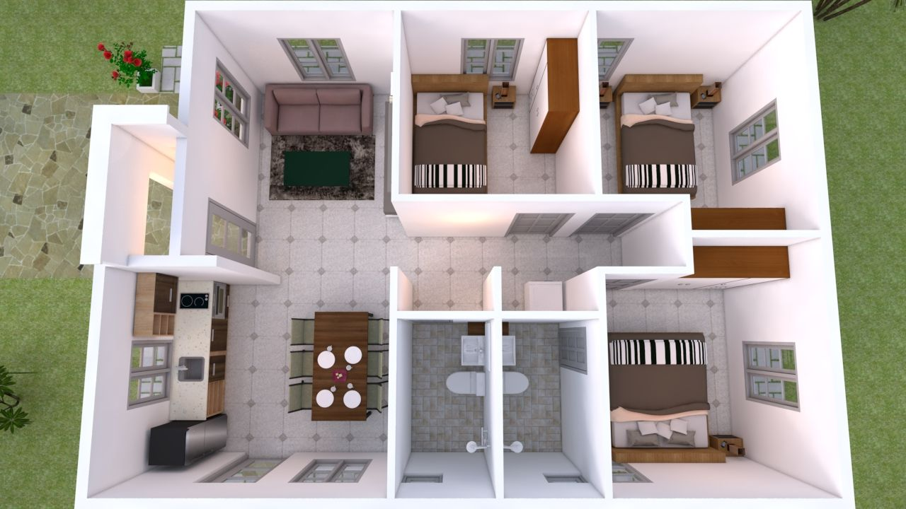 House Design 7x10 With 3 Bedrooms Terrace Roof Em 2020 Projetos