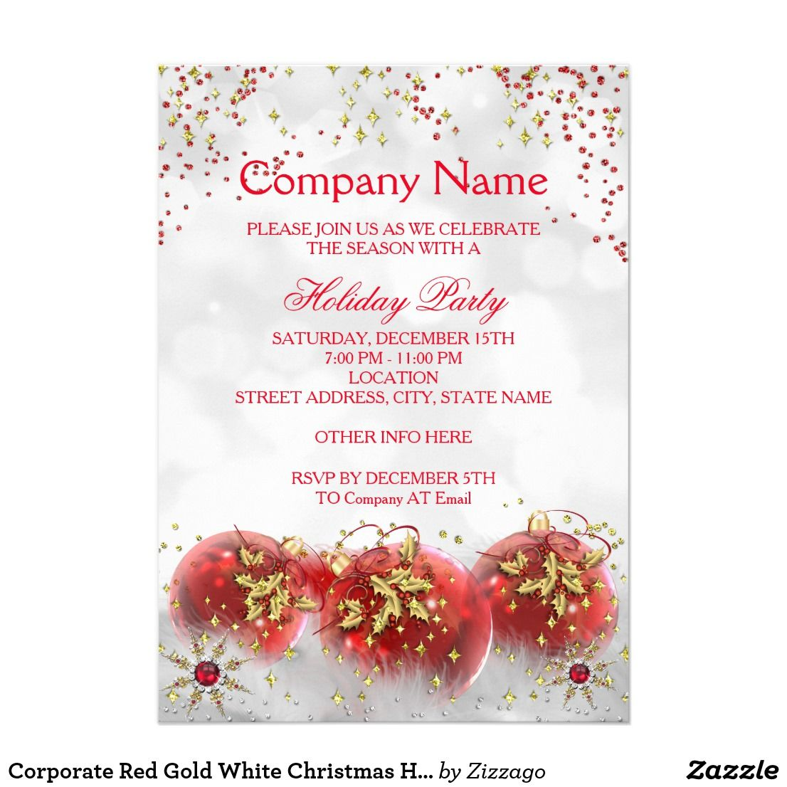 Corporate Red Gold White Christmas Holiday Party Card Corporate