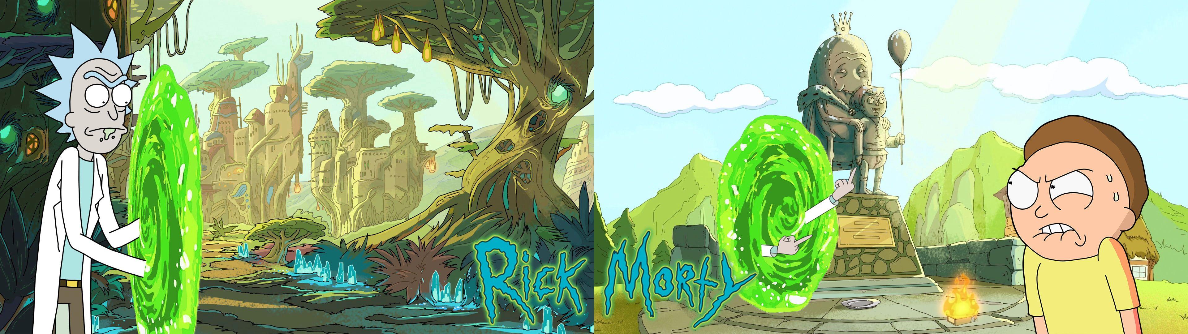Rick And Morty Dual Monitors Dual Display 4k Wallpaper Hdwallpaper Desktop In 2020 3840x1080 Wallpaper Cartoon Wallpaper Dual Monitor Wallpaper