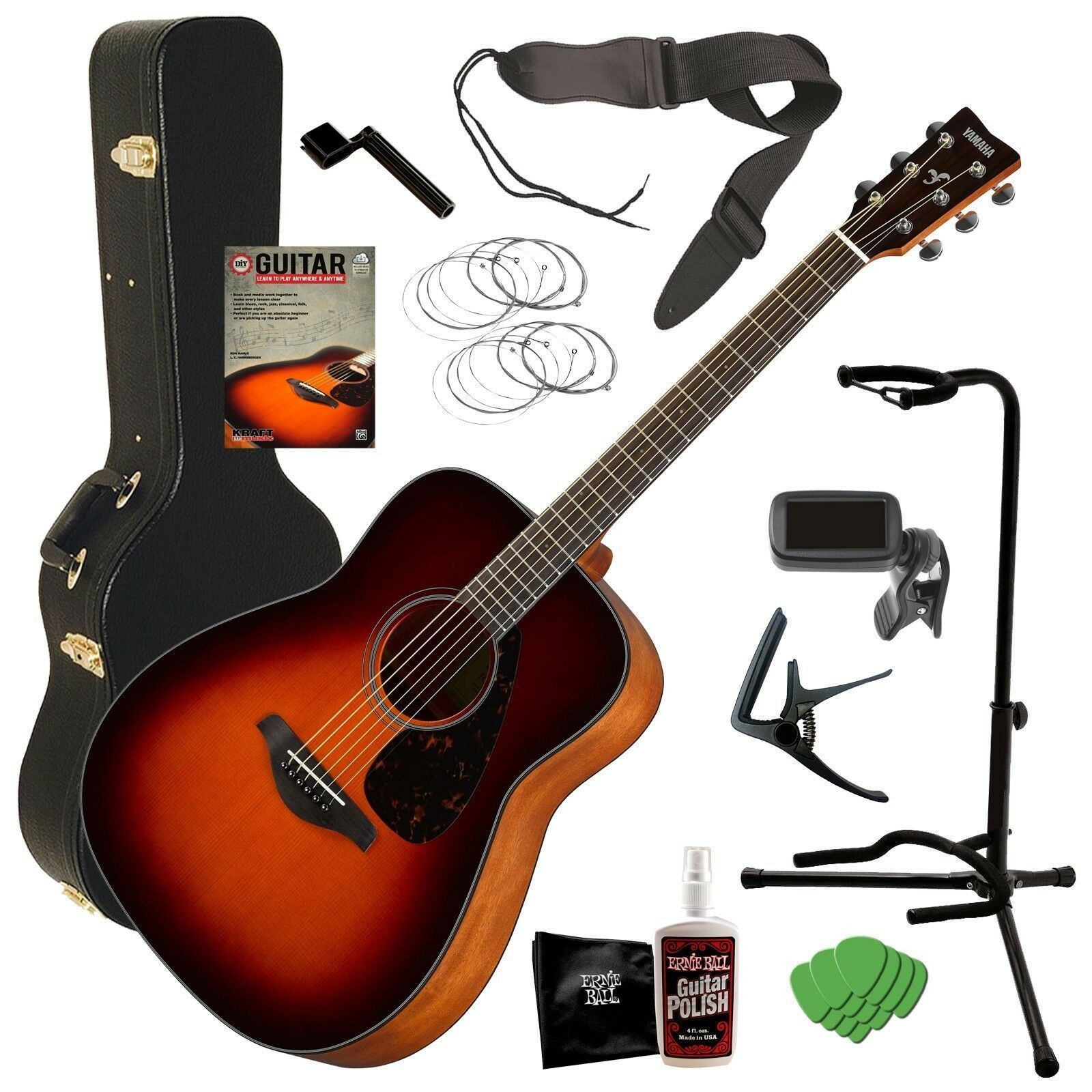 Yamaha Fg800 Acoustic Guitar Brown Sunburst Complete Guitar Bundle In 2020 Yamaha Guitar Guitar Yamaha Fg800