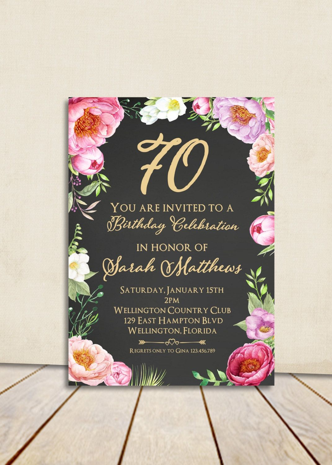 Floral Peony Chalkboard 80th Birthday Invitation Adult Any Age Vintage Rose Cottage Chic Printable Invite By