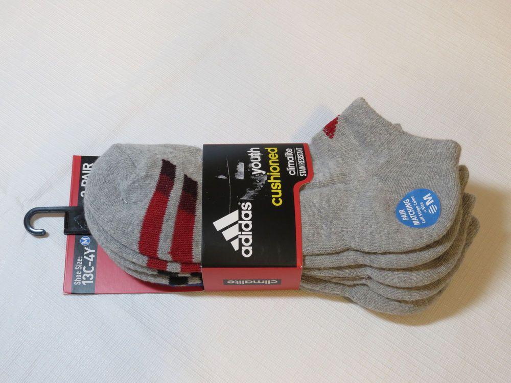 Adidas 3 pair socks No Show Climalite Stain Resistant Compression shoe sz 13C-4Y #adidas #noshow