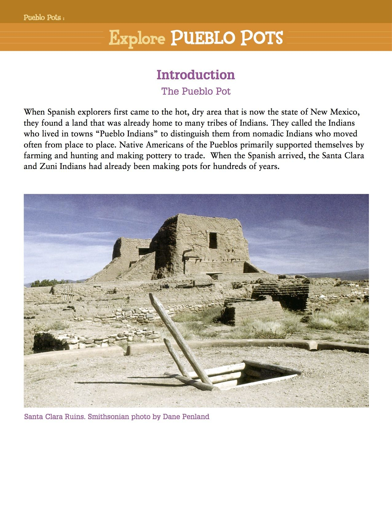 History And Worksheet Of Pueblo Pottery