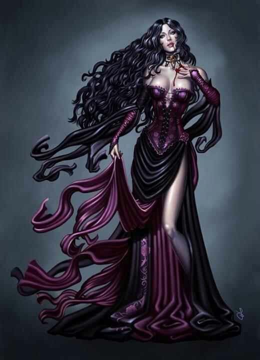 Long Black Hair Gothic Fantasy Art Fantasy Art Women Fantasy Artwork