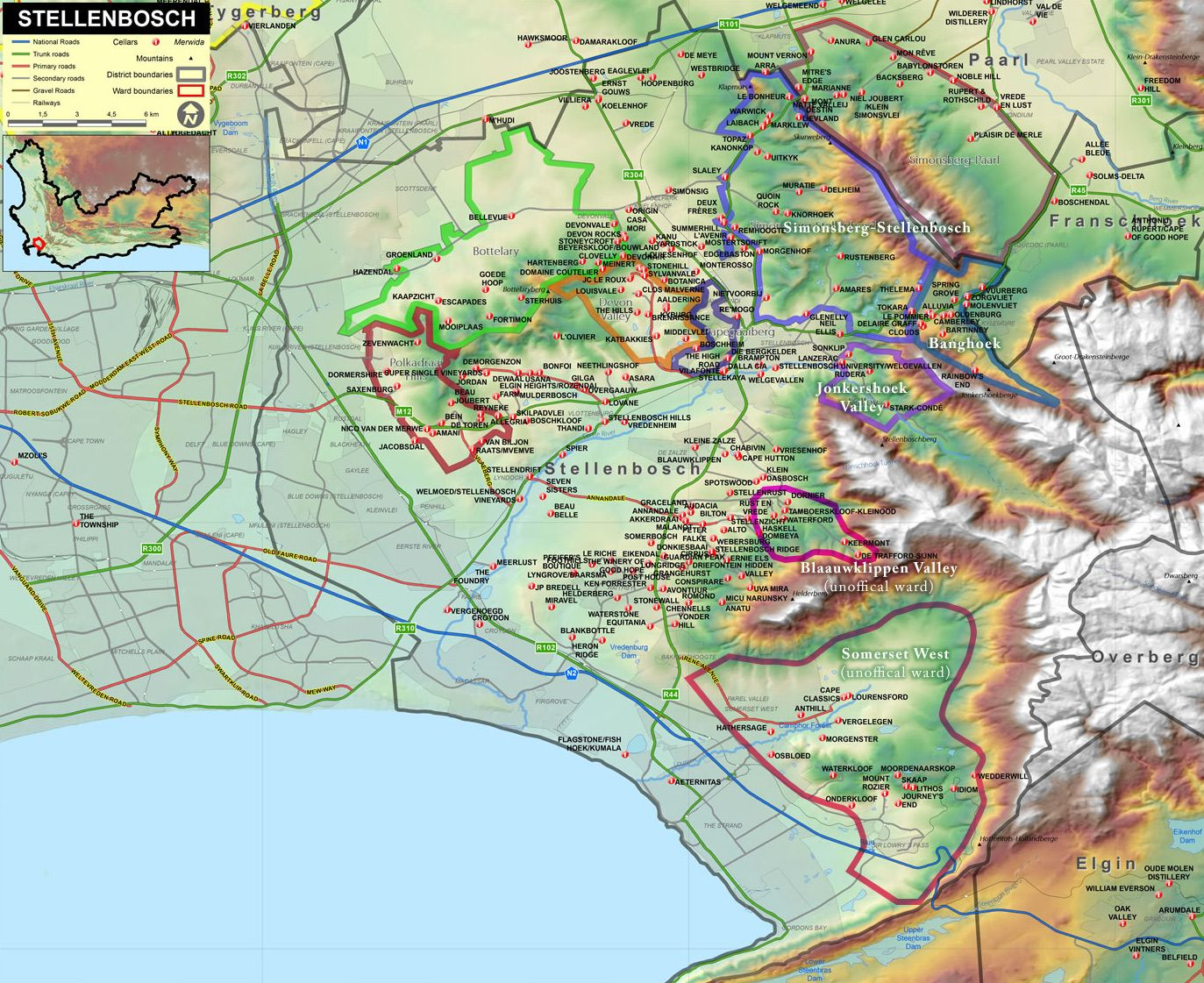 The Jaw Dropping Wines Of Stellenbosch South Africa Wine Map Wine Region Map South Africa Wine