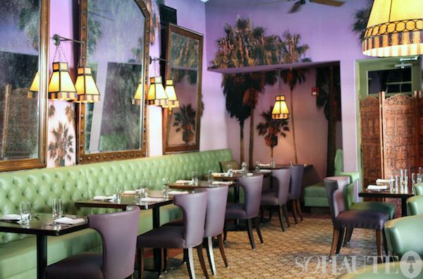 the purple palm restaurant at the colony palms hotel, palm springs