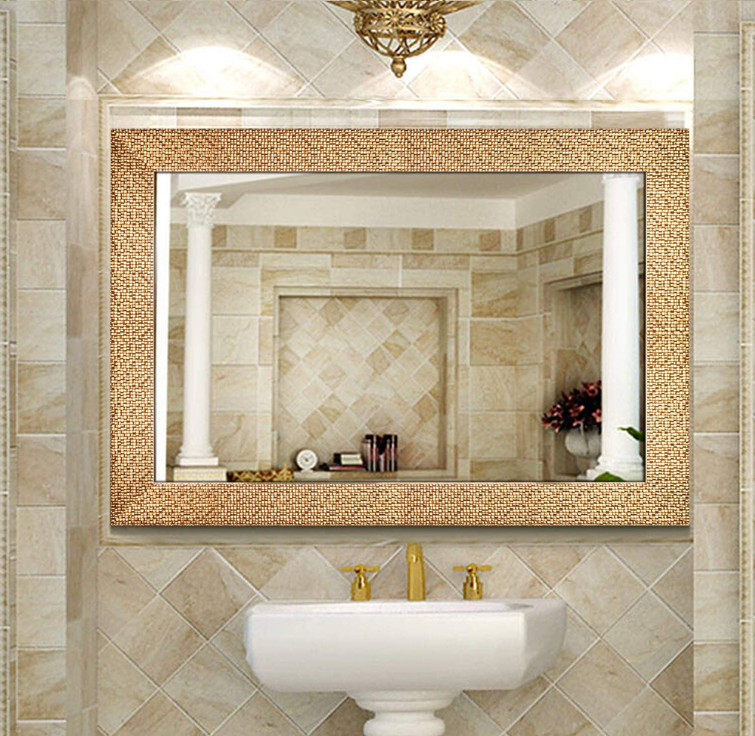 Toppay Framed Bathroom Mirrors For Wall Gold Details Can Be Found By Clicking On The Image It In 2020 Bathroom Mirror Bathroom Mirror Frame Mirror Wall Bathroom