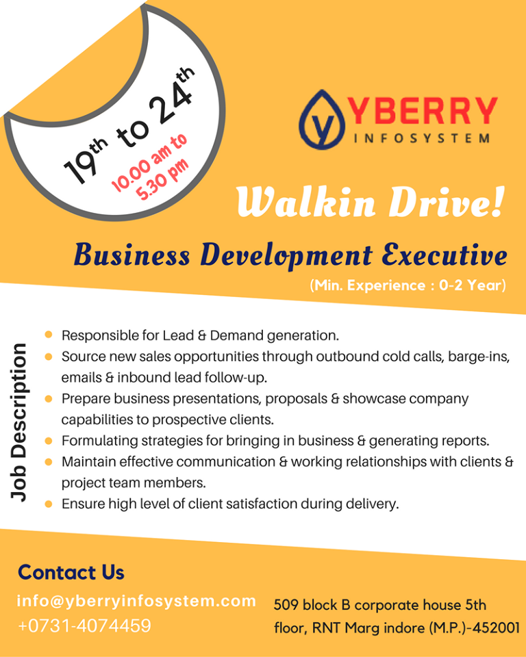 Openings for #Business #Development #Executive  !! #BDE Min
