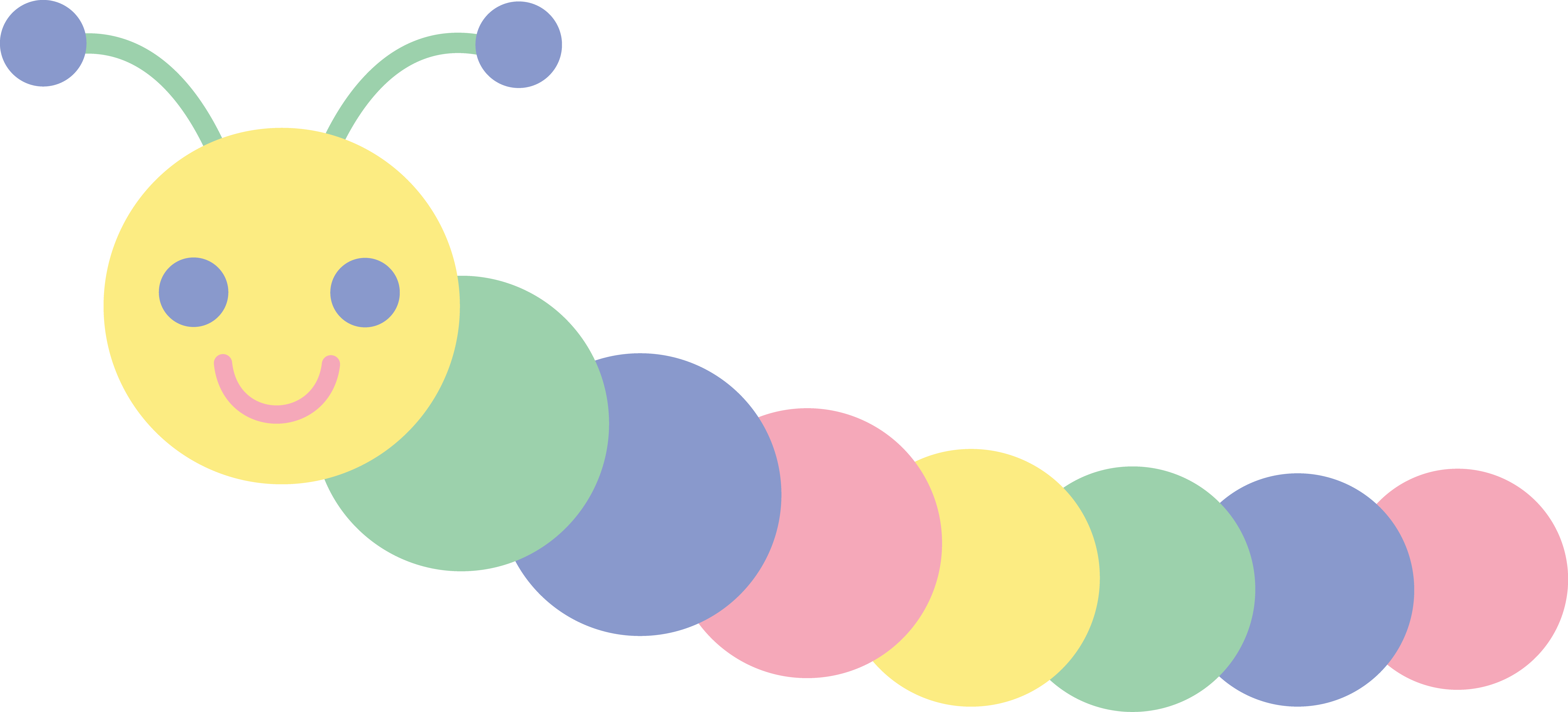 baby sports clip art cute pastel caterpillar free clip art [ 6433 x 2920 Pixel ]