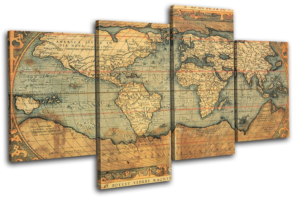 Old World Atlas Maps Flags MULTI CANVAS WALL ART Picture