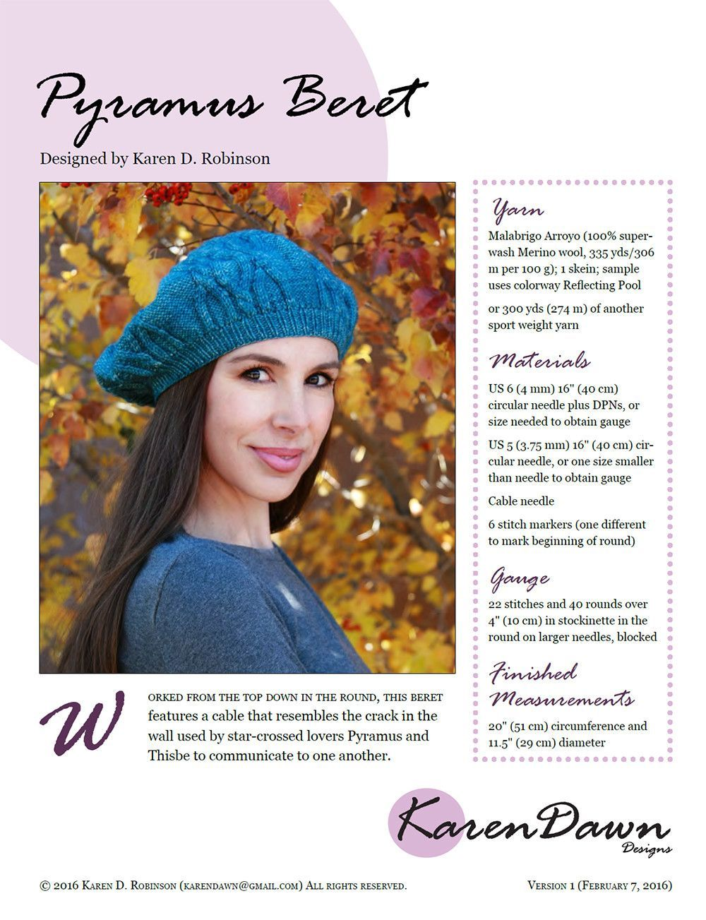 Pyramus beret knitting pattern berets and products pyramus beret knitting pattern bankloansurffo Images