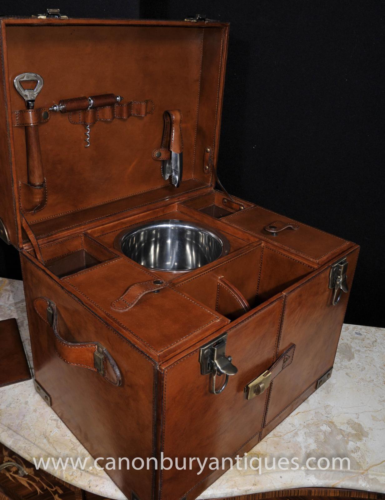 46b3090c552cc Photo of English Leather Hamper Wine Champagne Trunk Box Campaign Furniture