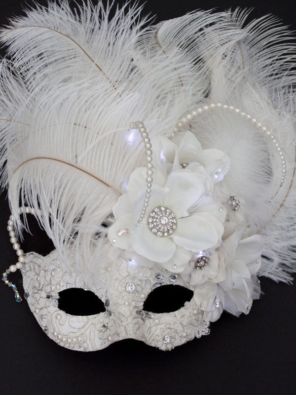 7e46122476c7 Unique Bridal Winter Ivory White Light Up Masquerade Mask | 25th ...