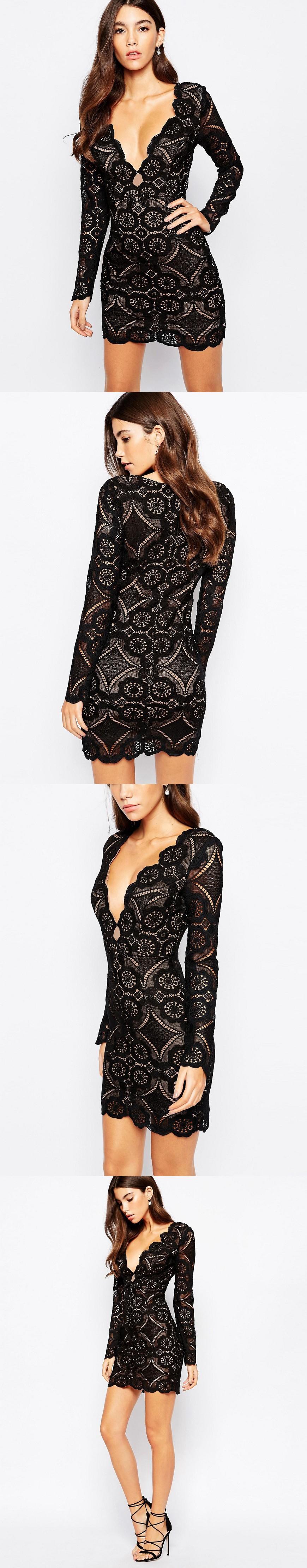 Love Triangle V Neck Mini Dress In All Over Lace Mini Dresses