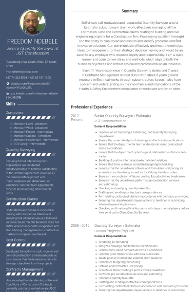 senior quantity surveyor  estimator Resume Example  Career  Resume software Free resume