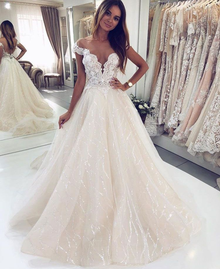Off The Shoulder Sparkly Wedding Dresses Bridal Gown With