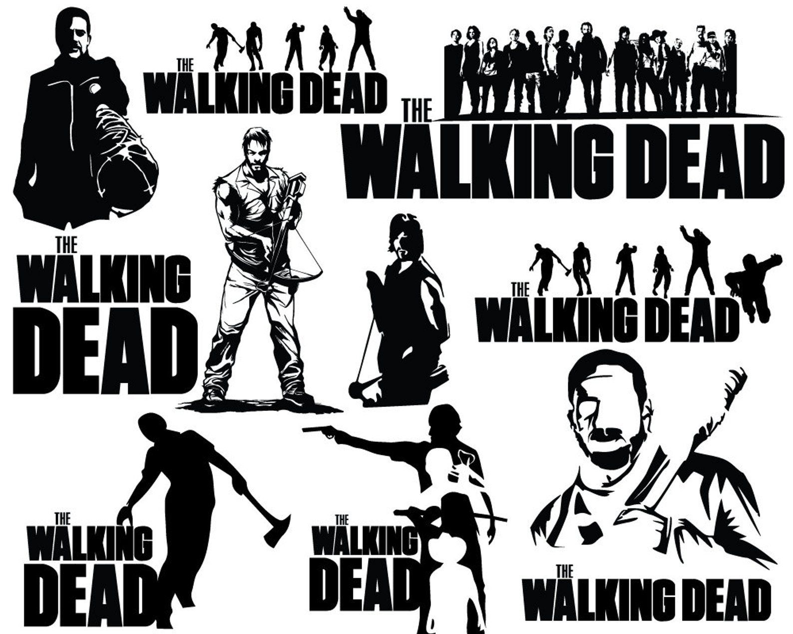 The Walking Dead Svg Eps Jpg Png Clipart Printable Etsy The Walking Dead Clip Art Dead