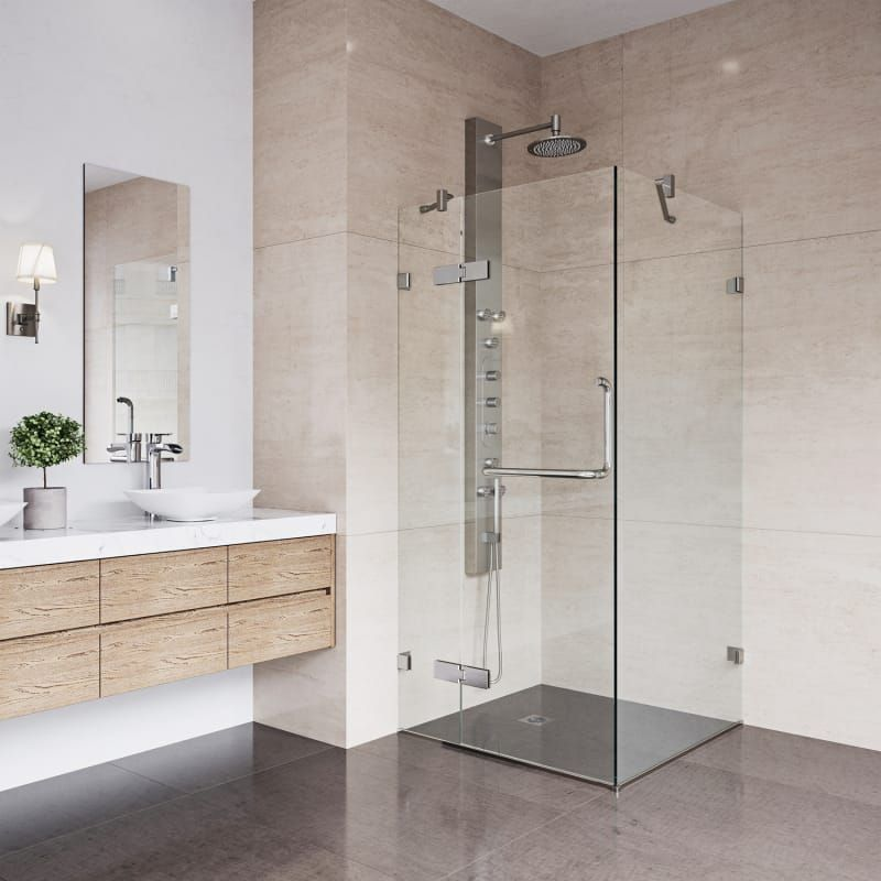 Vigo Vg6011bncl32 Clear Brushed Nickel Monteray 73 3 8 High X 32 Wide X 30 1 4 Deep Hinged Frameless Shower Enclosure With 3 8 Glass Neo Angle Shower Enclosures Corner Shower Enclosures Frameless Shower Enclosures