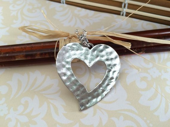 Silver Heart Necklace Hammered Pendant by CotonLilyCreations