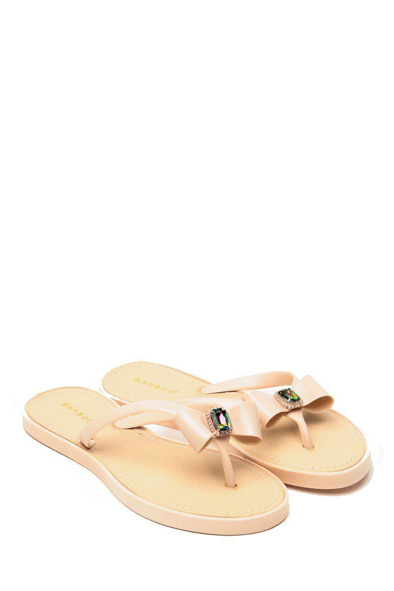 Bamboo Nude Gel Gem Flip Flop Sandals @ Cicihot Sandals Shoes online store sale:Sandals,Thong Sandals,Women's Sandals,Dress Sandals,Summer S...