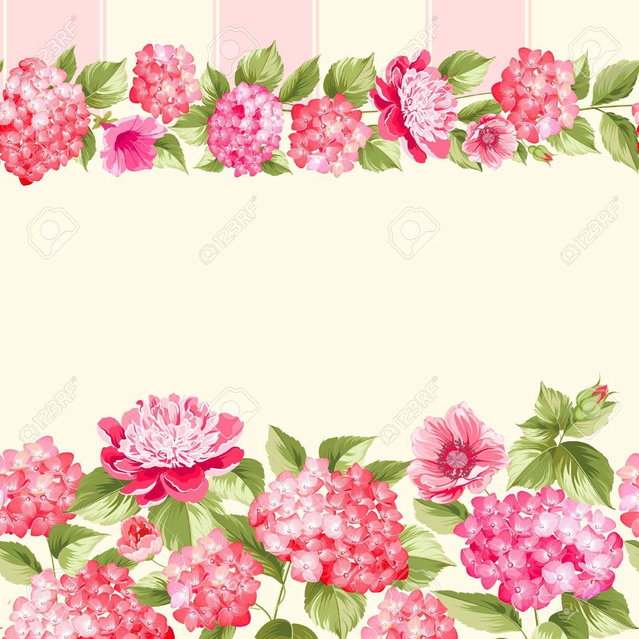 48648173 Pink Flower Border With Tile Elegant Vintage Card Design Roses Floral Vintage Flowers Wallpaper Purple Flowers Wallpaper Flowers Photography Wallpaper