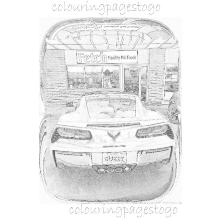 Classic Car GreyScale colouring, GreyScale printable