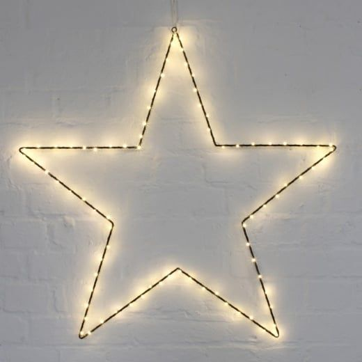 H H Extra Large 29 Metal Star Light Black Warm White Led S Led Star Lights Metal Stars Light Decorations