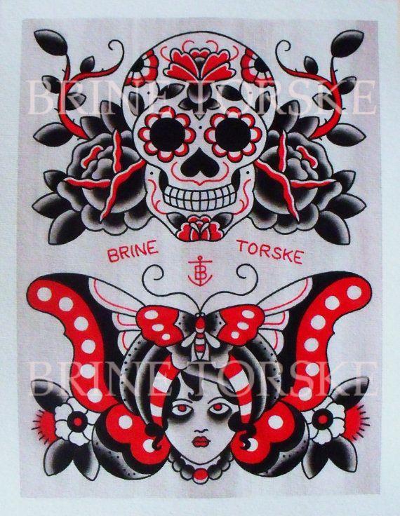Sugar Skull And Gypsy American Traditional Tattoos Card Tattoo