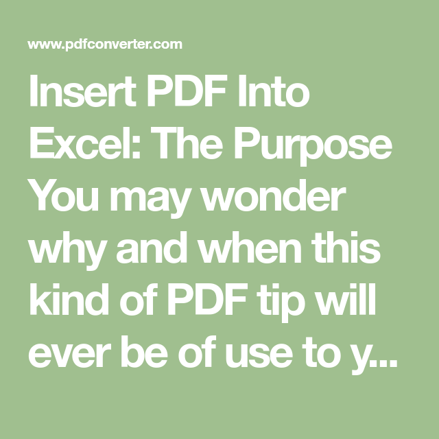 Insert Pdf Into Excel An Excel Tip You Didn T Know About Excel Data Visualization Insert