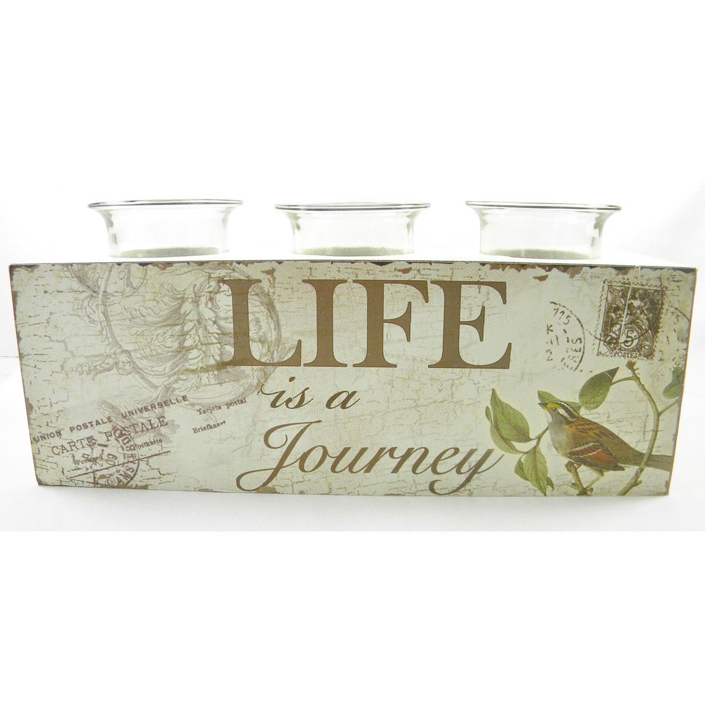 'Life Is A Journey' Tea Light Candle Holder | Overstock.com Shopping - The Best Prices on Candles & Holders