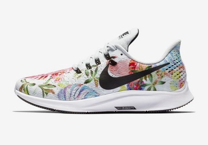 best website a5632 40cbf Nike Air Zoom Pegasus 35 Floral Platine pur Blanc Noir pas cher prix Baskets