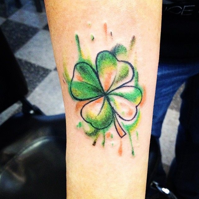 Watercolor Shamrock Shamrock Tattoos Clover Tattoos Irish Tattoos