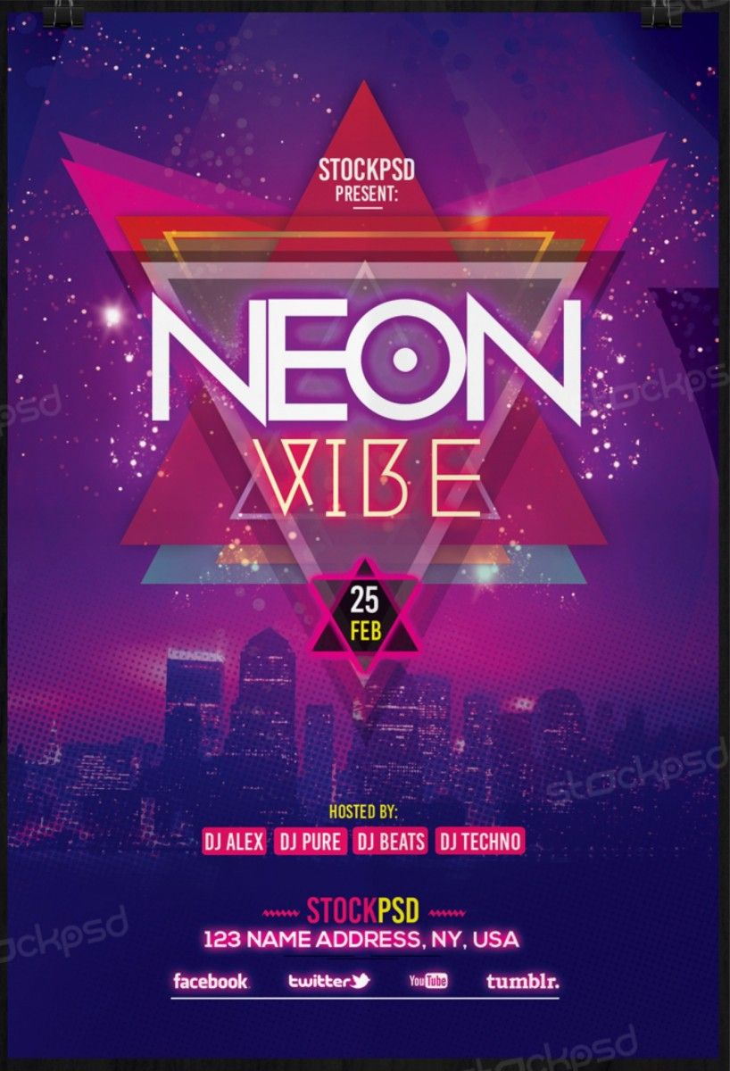 neon vibe download free psd flyer template free flyer template