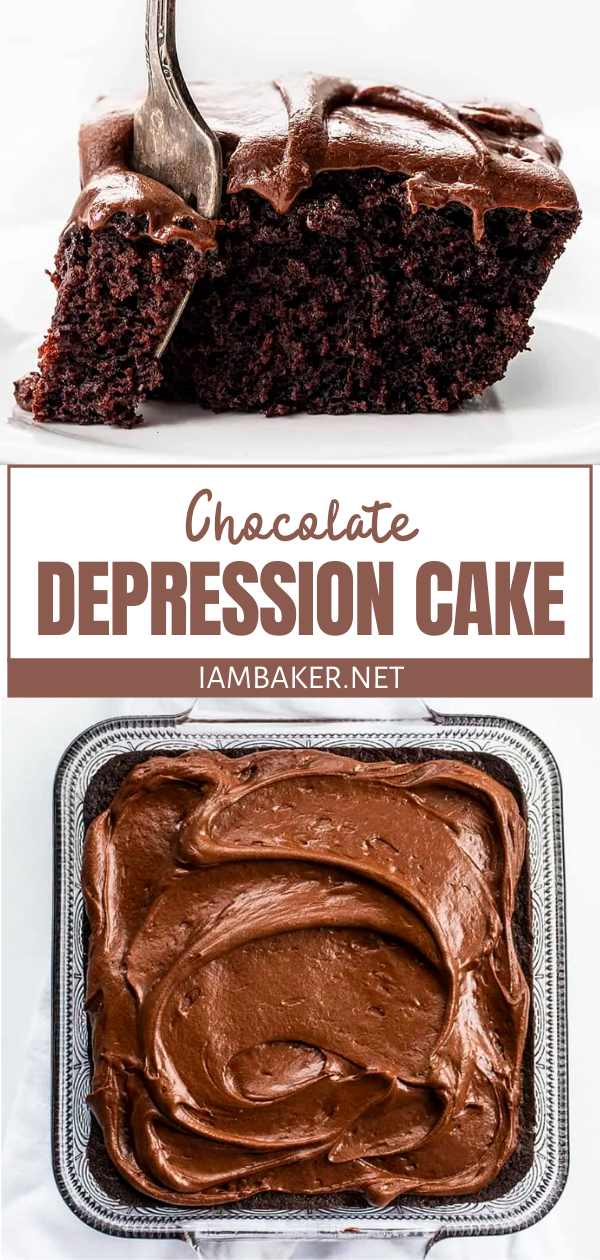 Chocolate Depression Cake {with Chocolate Frosting}