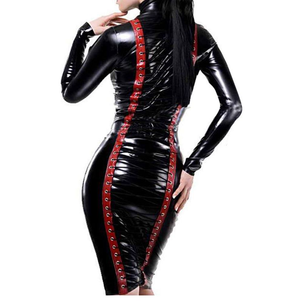 Wonder beauty sexy black club wear vinyl wet look long sleeve cut