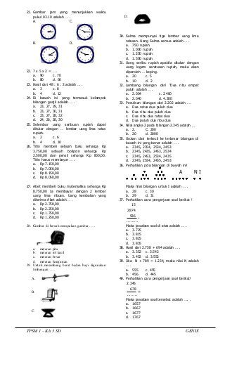 Soal Uts Matematika Kelas 3 Sd Semester 2 Dan Jawabannya : matematika, kelas, semester, jawabannya