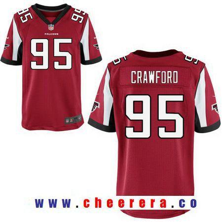 Men s Atlanta Falcons  95 Jack Crawford Red Team Color Stitched NFL Nike  Elite Jersey 56bc89171